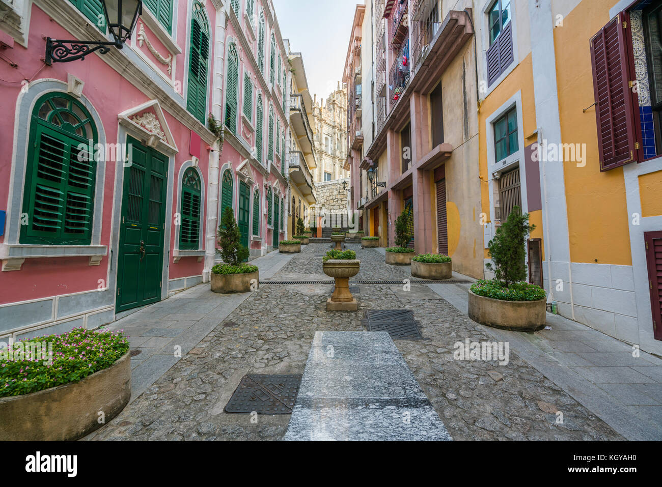 Scenic street in the old town in Macau (Macao) near Ruins of St Paul's in Macau (Macao) ,China. - Stock Image
