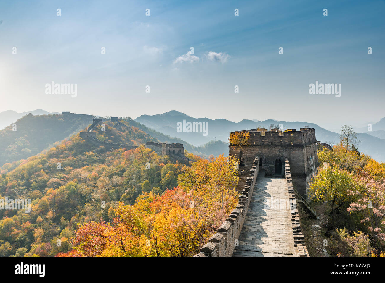 China The great wall distant view compressed towers and wall segments autumn season in mountains near Beijing ancient - Stock Image