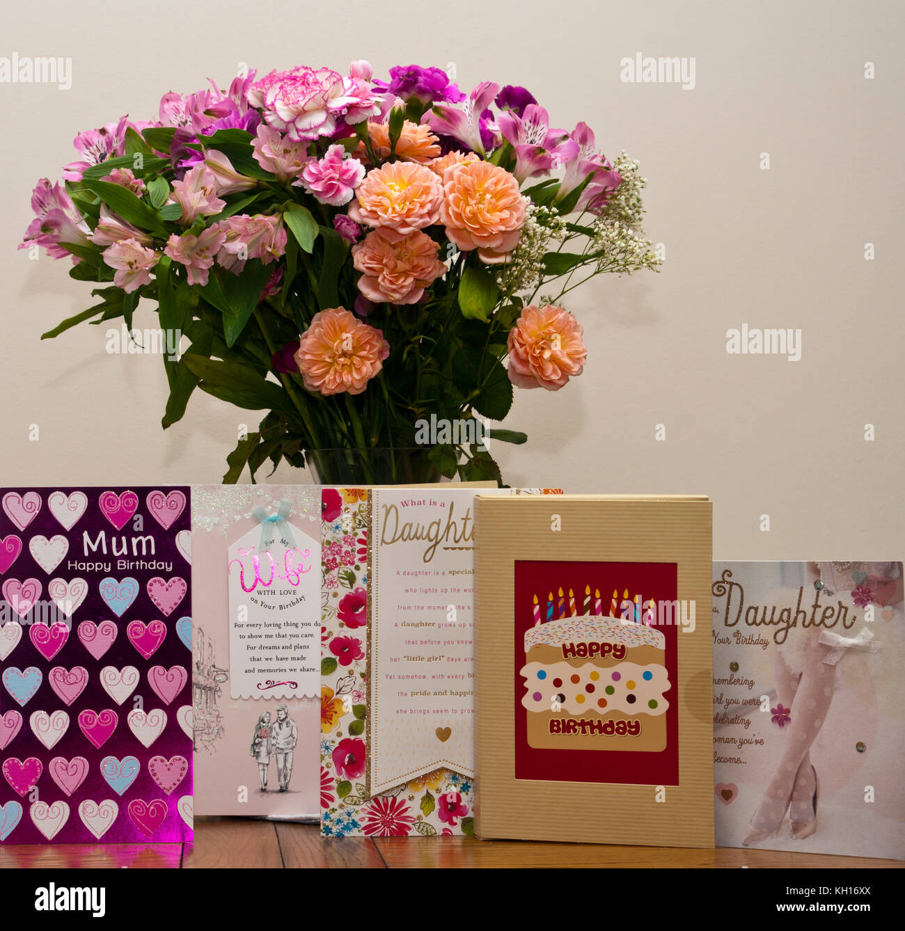 Birthday cards stock photos birthday cards stock images alamy birthday cards with a bunch of flowers in a vase stock image izmirmasajfo Choice Image