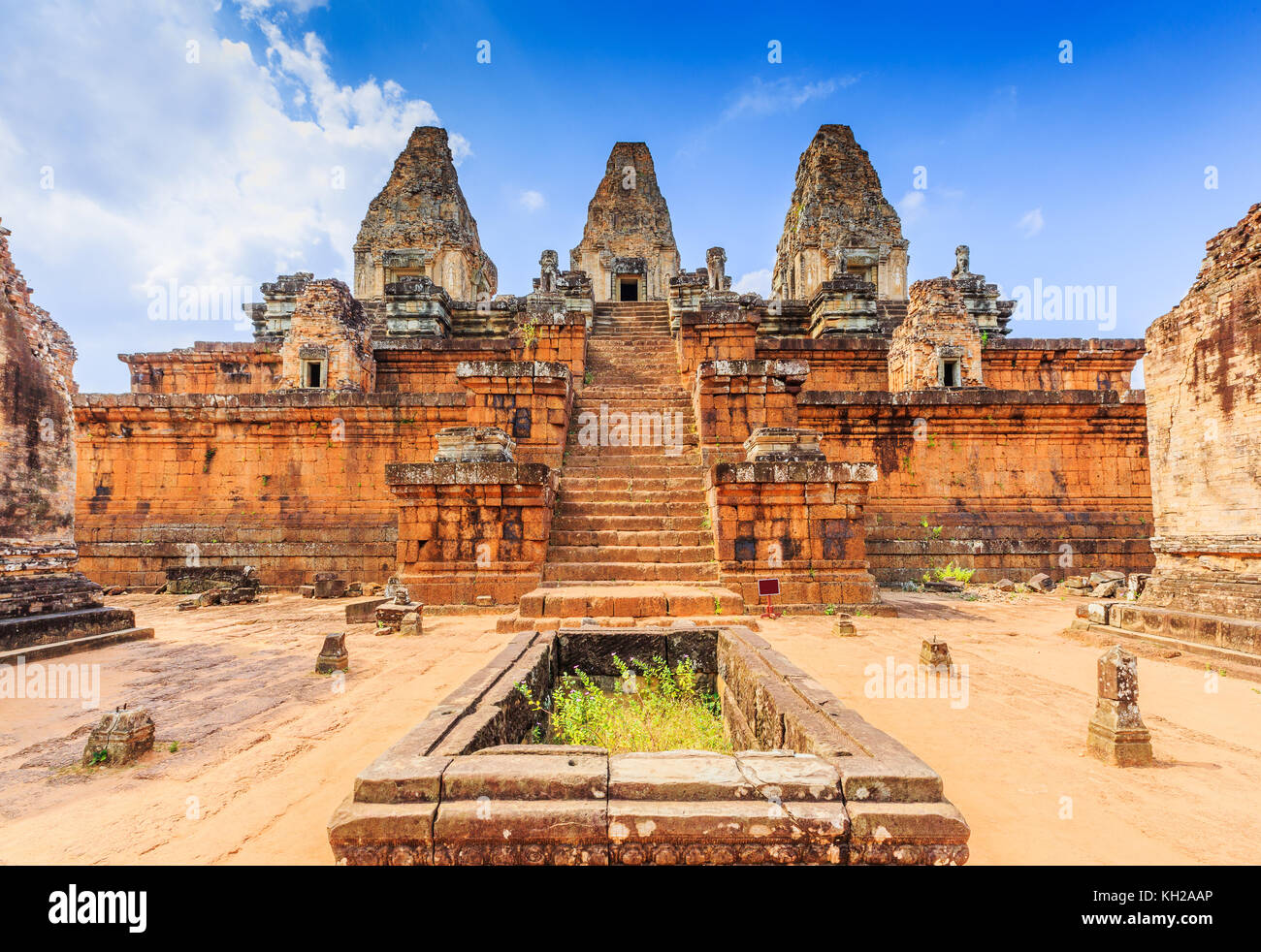 Angkor, Cambodia. Pre Rup temple. The cistern and central towers. - Stock Image