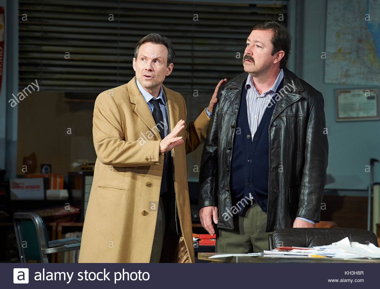 Glengarry Glen Ross by David Mamet, directed by Sam Yates. With Christian Slater as Ricky Roma, Oliver Ryan as Baylen - Stock Image