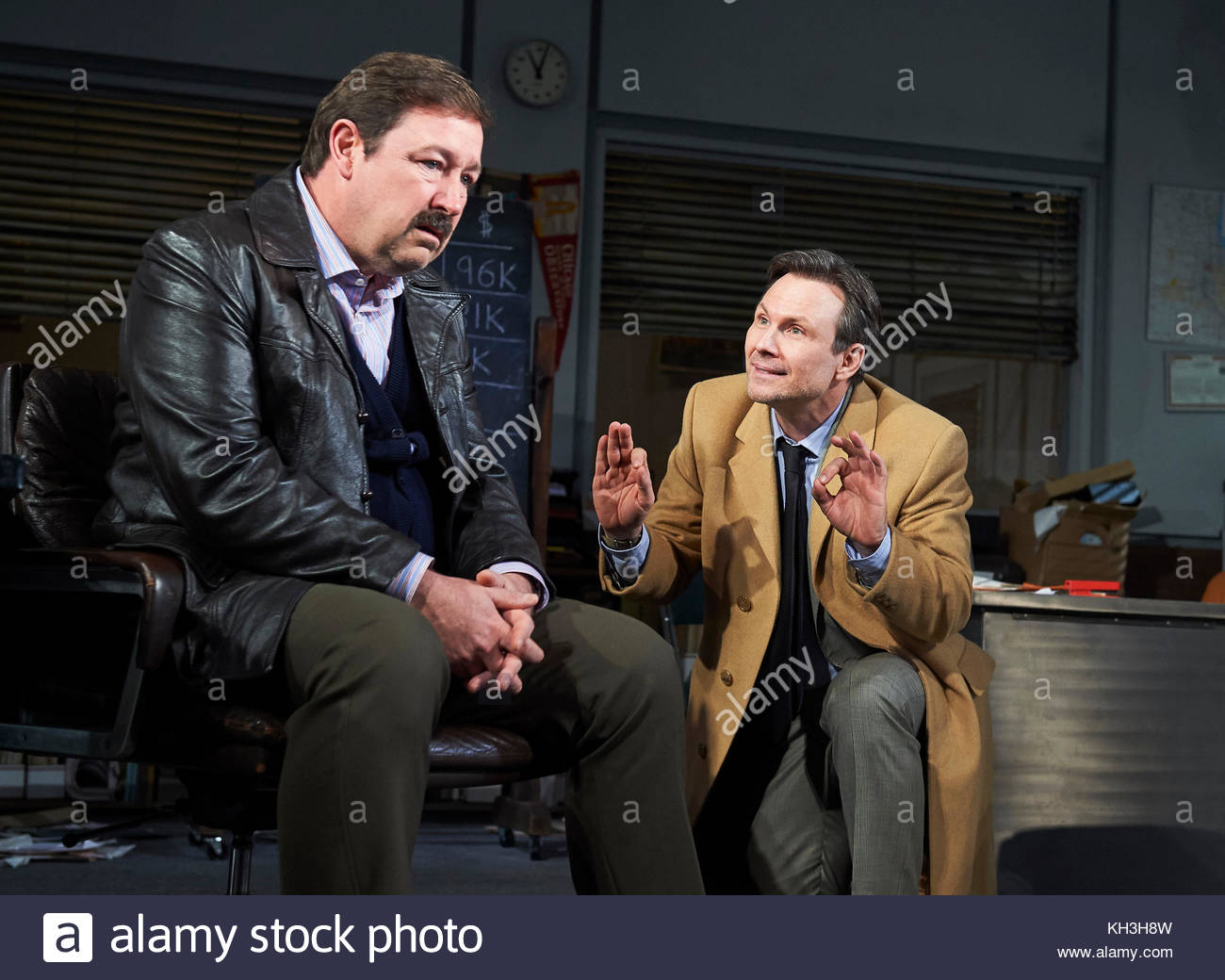 Glengarry Glen Ross by David Mamet, directed by Sam Yates. With Oliver Ryan as Baylen, Christian Slater as Ricky - Stock Image
