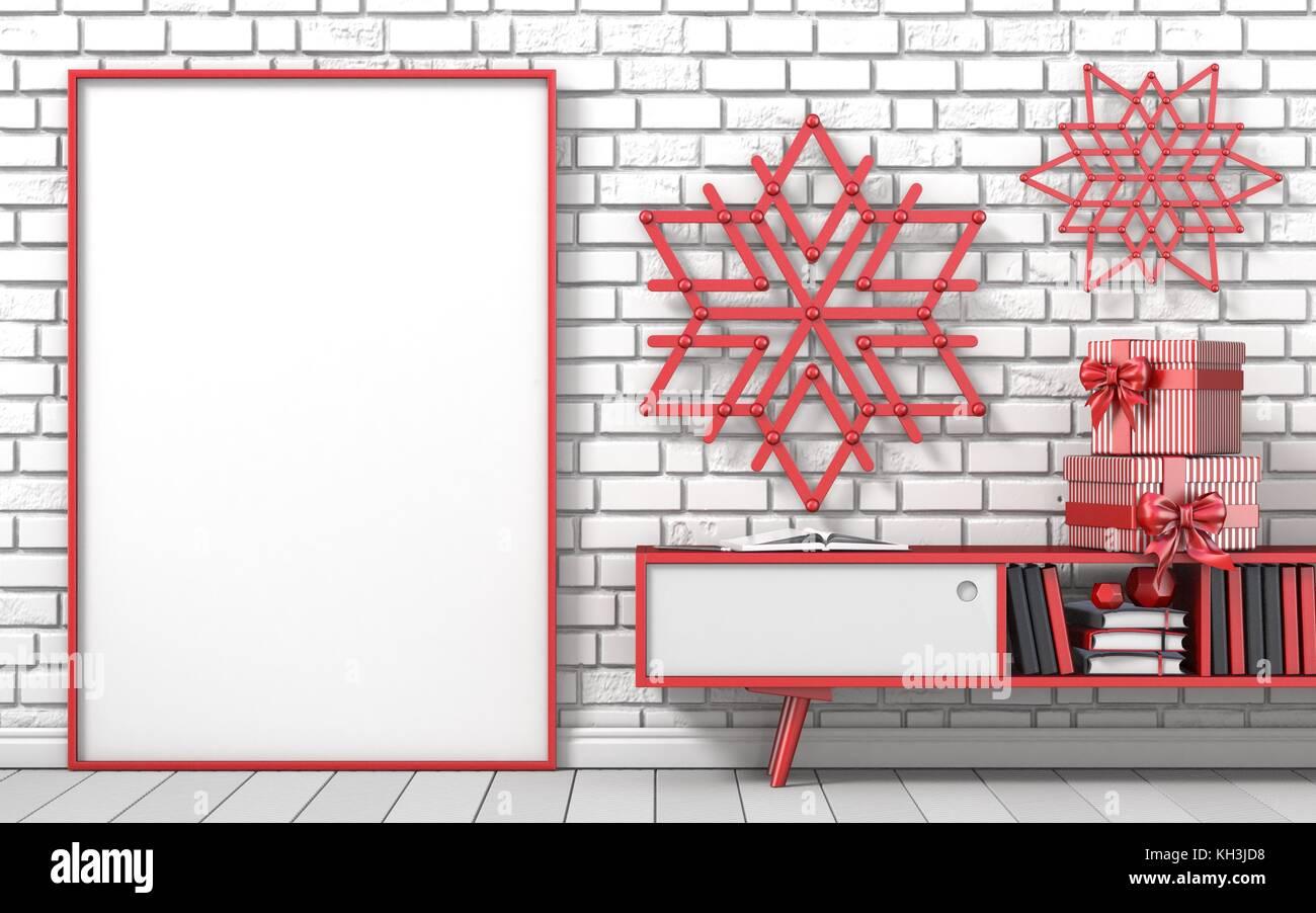 Mock up blank picture frame, Christmas decoration popsicle sticks ...