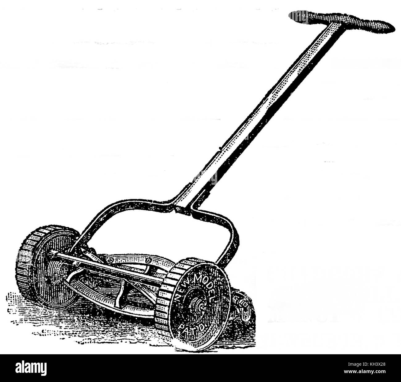 A cylinder (reel) mower from 1888 showing a fixed cutting blade in front of the rear roller and wheel-driven rotary - Stock Image