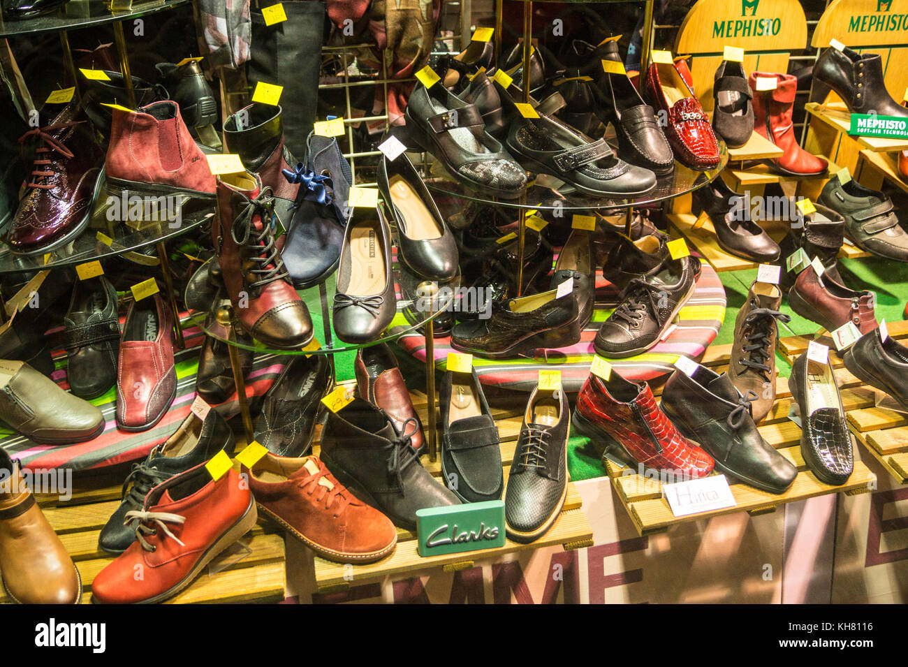 Display of Clarks and Mephisto brand shoes in a shop window, Toulouse, Occitanie, France Stock Photo