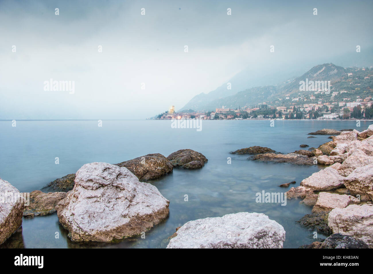 An autumnal cloudy moody mist  day by Malcesine on Lake Garda italy - Stock Image