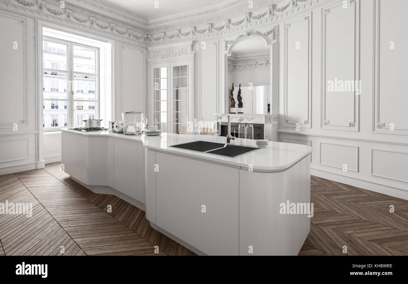 Centre island with fitted appliances and sink in a modern white ...