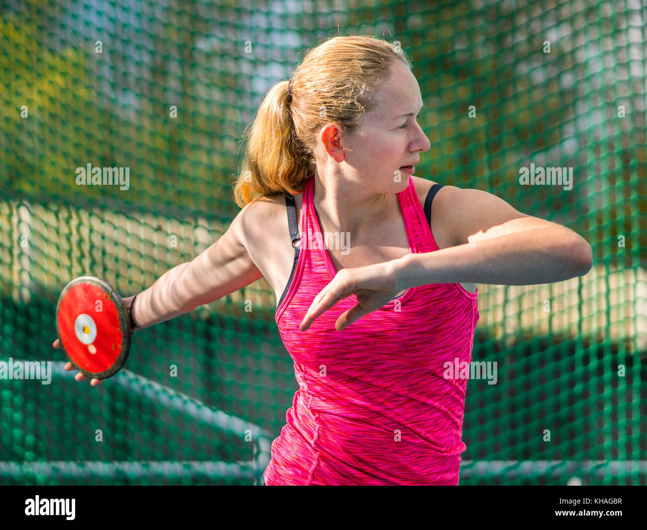 Woman, athletics, discus throwing - Stock Image