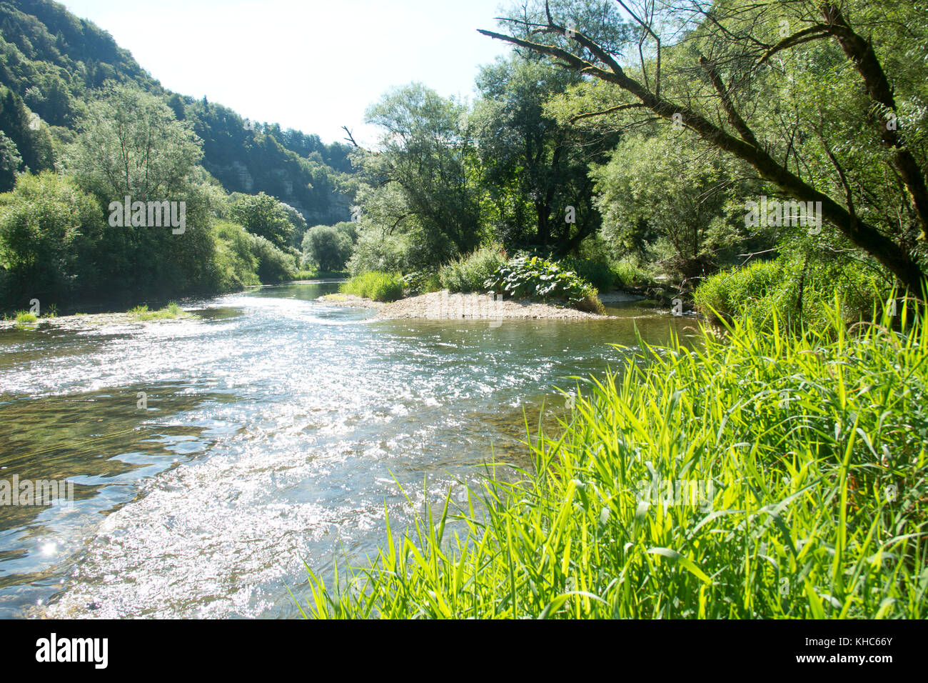 currents in wild river doubs *** Local Caption *** switzerland, jura, soubey, clos du doubs, valley, doubs, river, - Stock Image