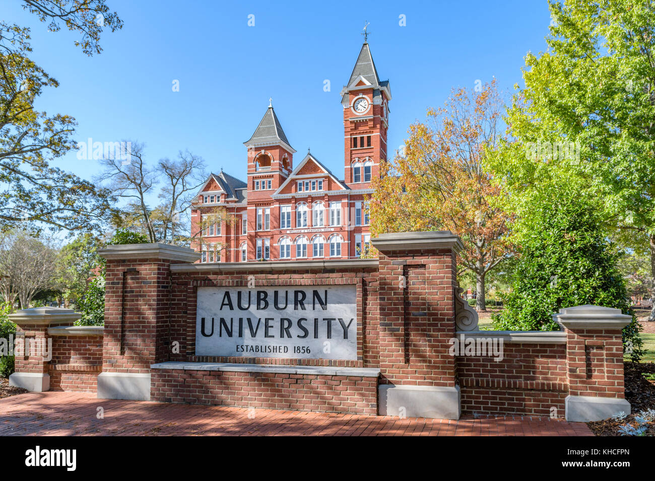 Auburn University, William J Samford Hall, administration building on the college campus with it's clock tower in Stock Photo