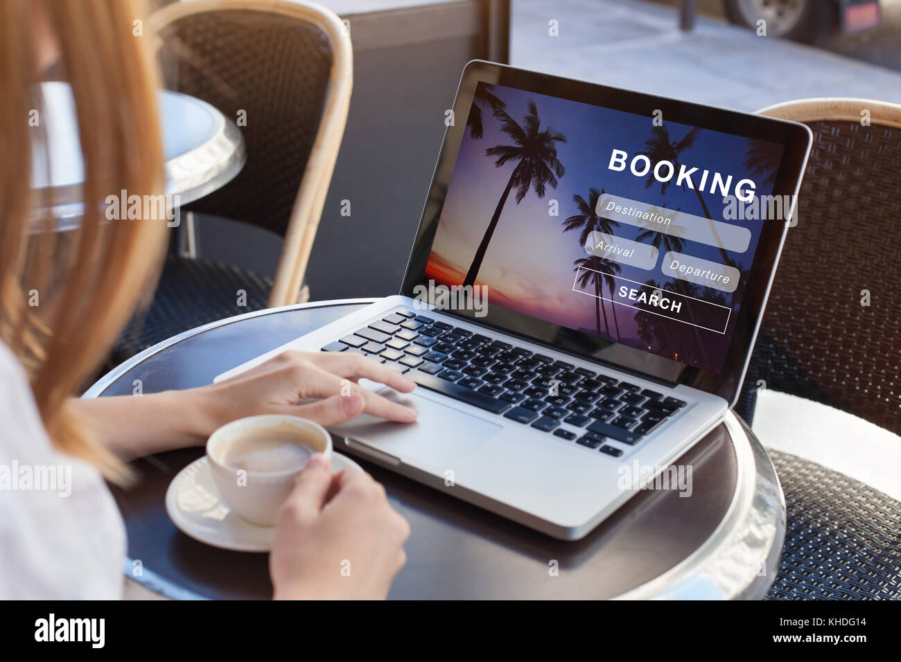 booking online concept, travel planning Stock Photo