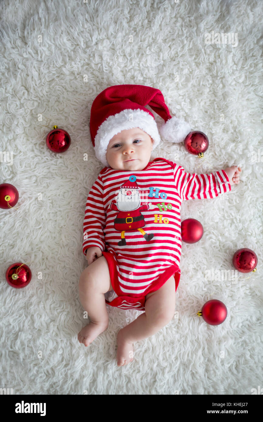 790d6ab2fd192 Christmas portrait of cute little newborn baby boy