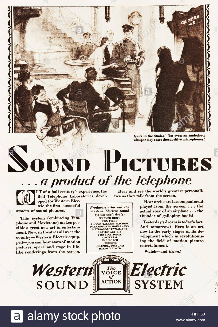 Western Electric Sound System 1929 magazine advertisement for films that have sound, a system that is a product - Stock Image