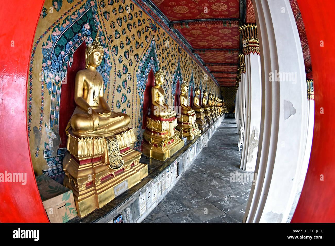 Buddhas at Wat Arun Temple, Bangkok, Thailand - Stock Image