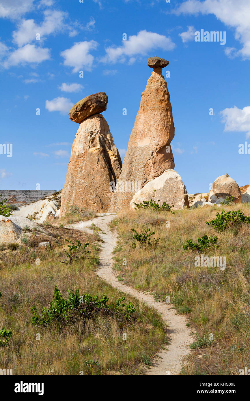 Extreme terrain of Cappadocia with fairy chimneys and volcanic rock formations, Cappadocia, Turkey. - Stock Image