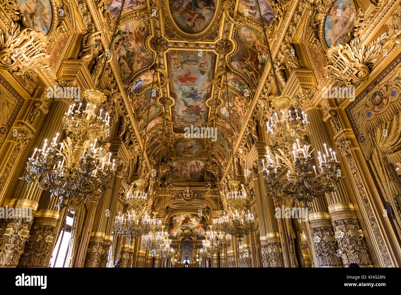 Ornate ceilings of the grand foyer of Palais Garnier, opera of Paris - Stock Image