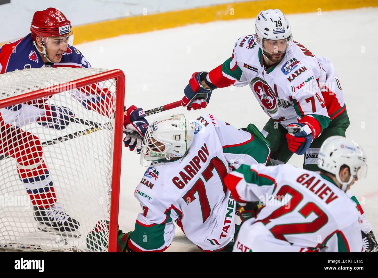 Moscow, Russia. 17th Nov, 2017. Ak Bars Kazan's Stanislav Galiyev, Andrei Markov, goaltender Emil Garipov defend - Stock Image