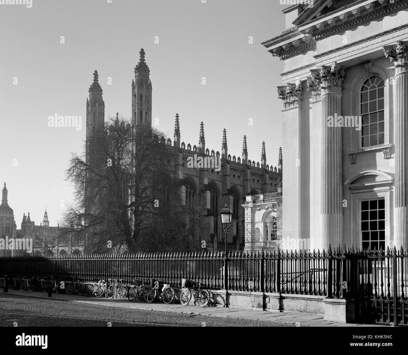 Senate House and King's College Chapel Cambridge in winter sunlight - Stock Image