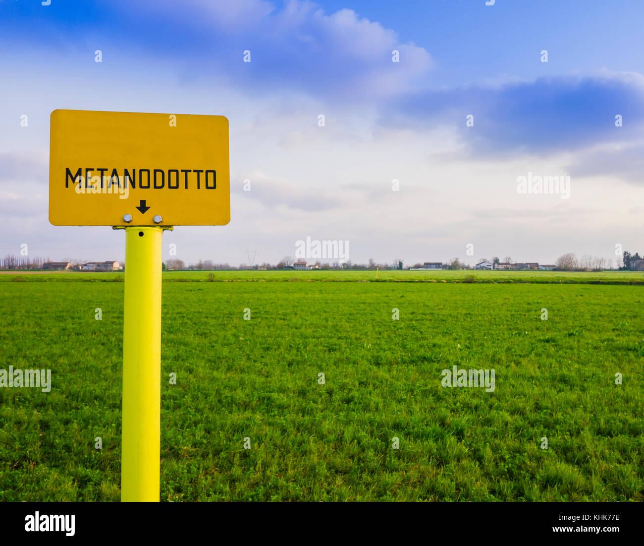 Natural Gas Yellow Warning Sign