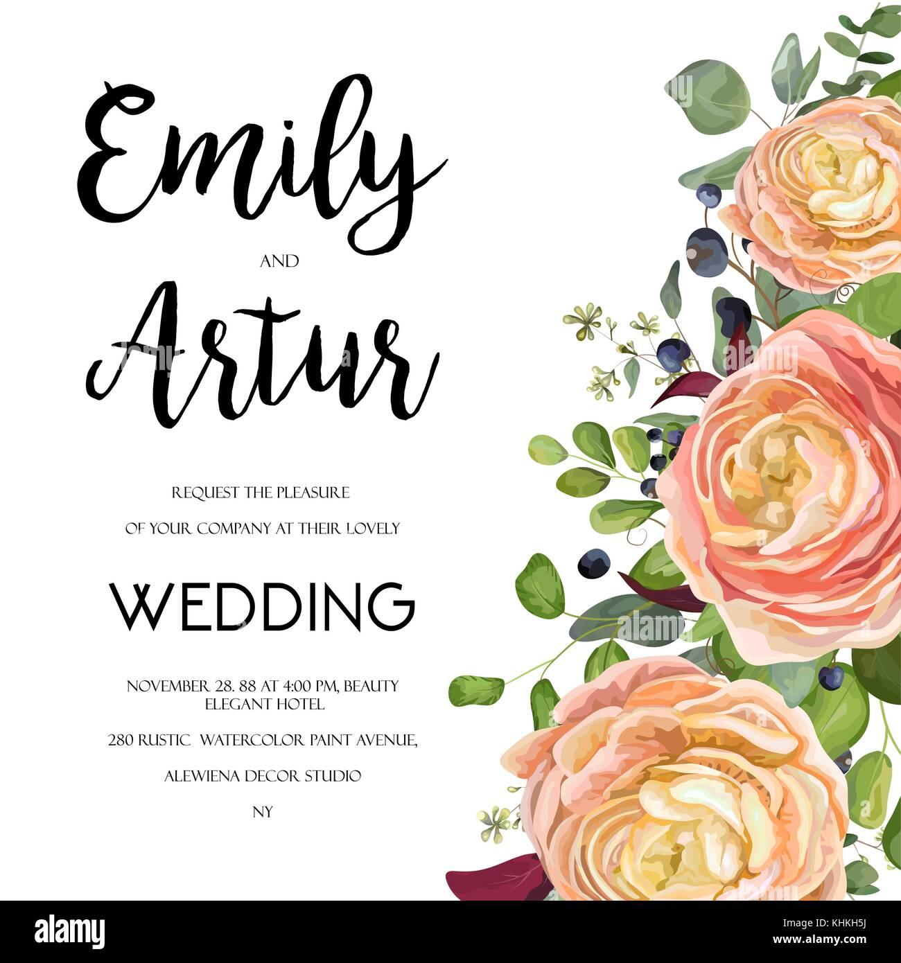 Wedding Invitation, invite card Design with watercolor hand drawn ...