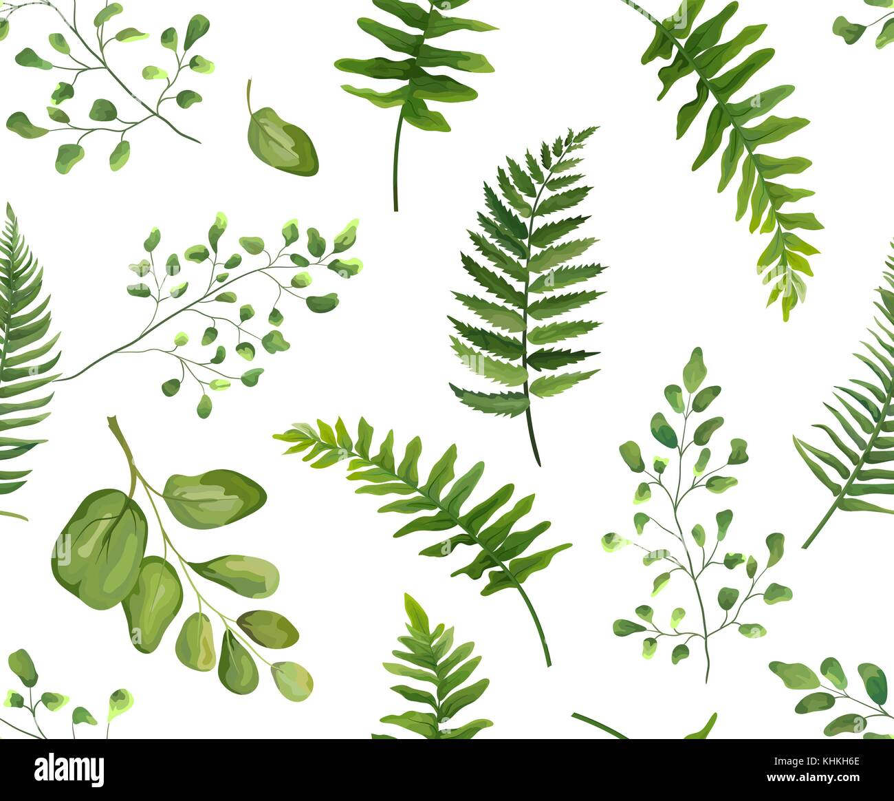 seamless greenery green leaves botanical  rustic pattern BBQ Clip Art Tropical Foliage Background