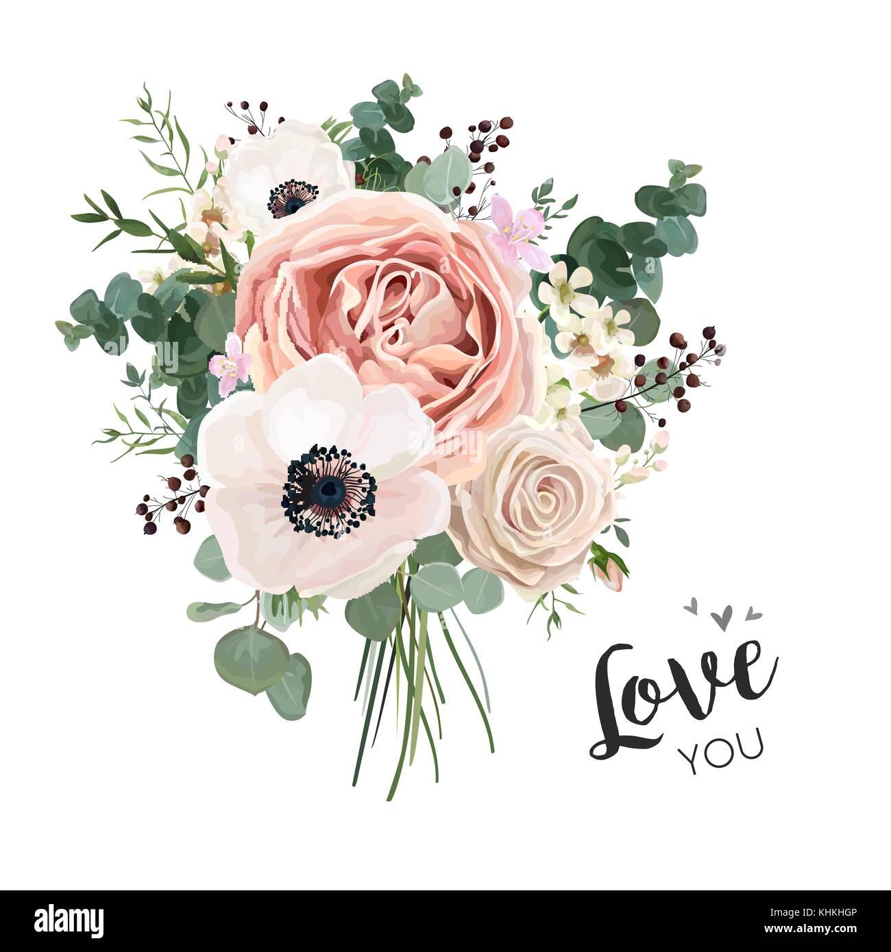 Flower Bouquet Floral Bunch Vector Boho Design Object Element
