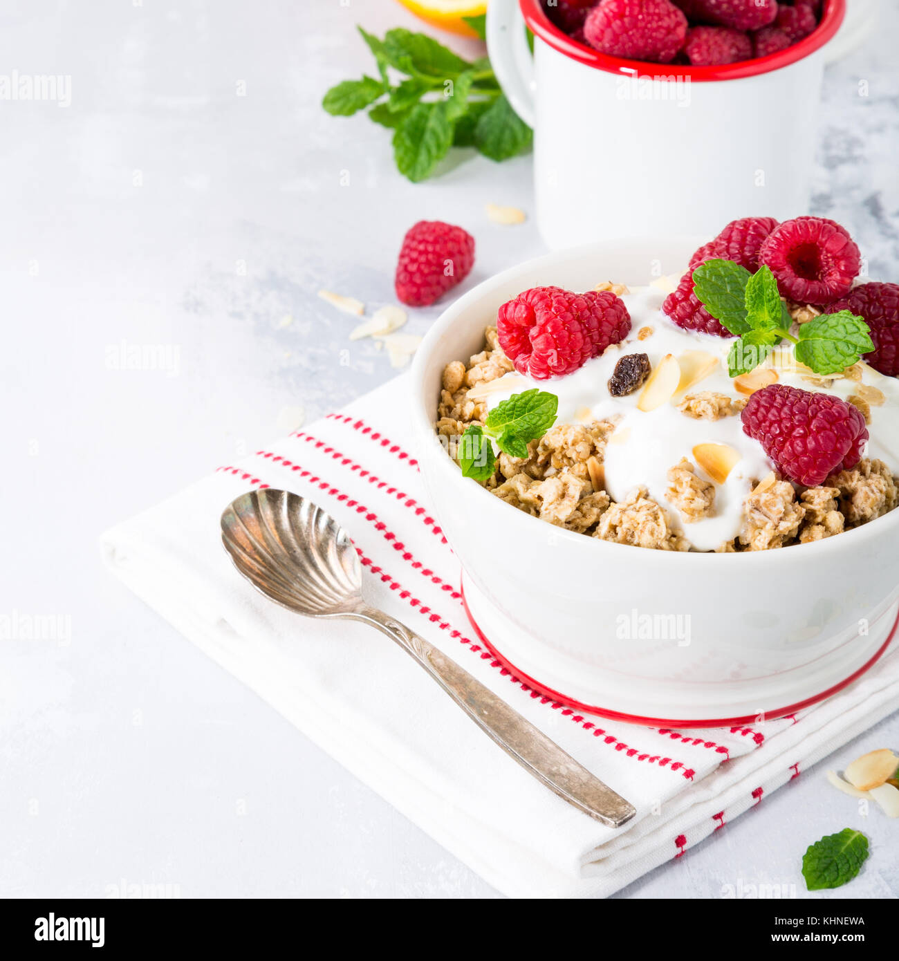 Healthy breakfast with granola and berries - Stock Image