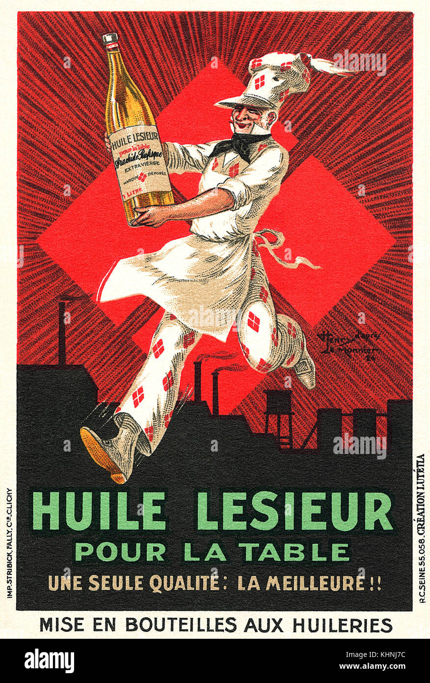 French trade card for Lesieur Oil. - Stock Image
