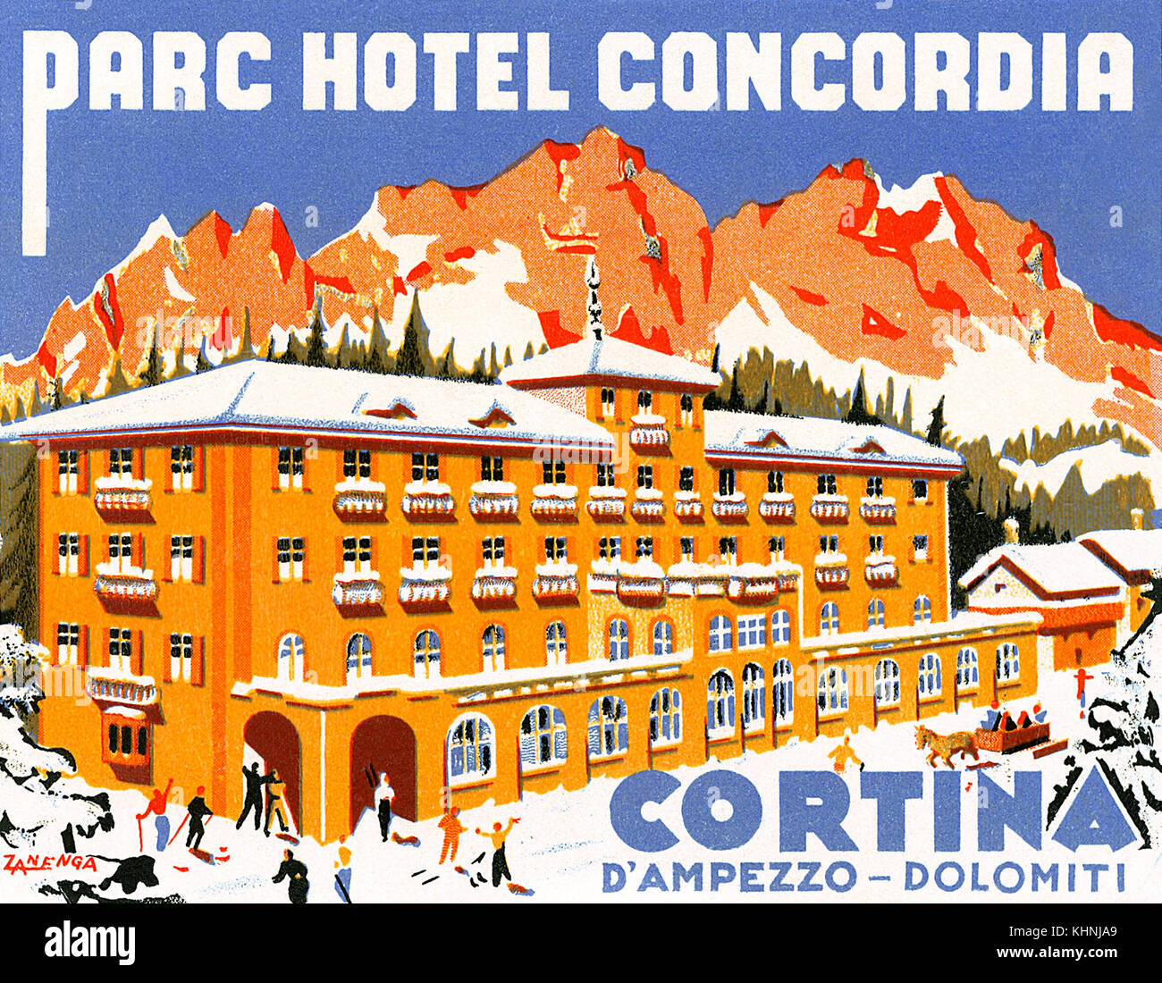 Vintage luggage label for the Parc Hotel Concordia in Cortina d'Ampezzo in the Italian Alps. Now called Hotel - Stock Image
