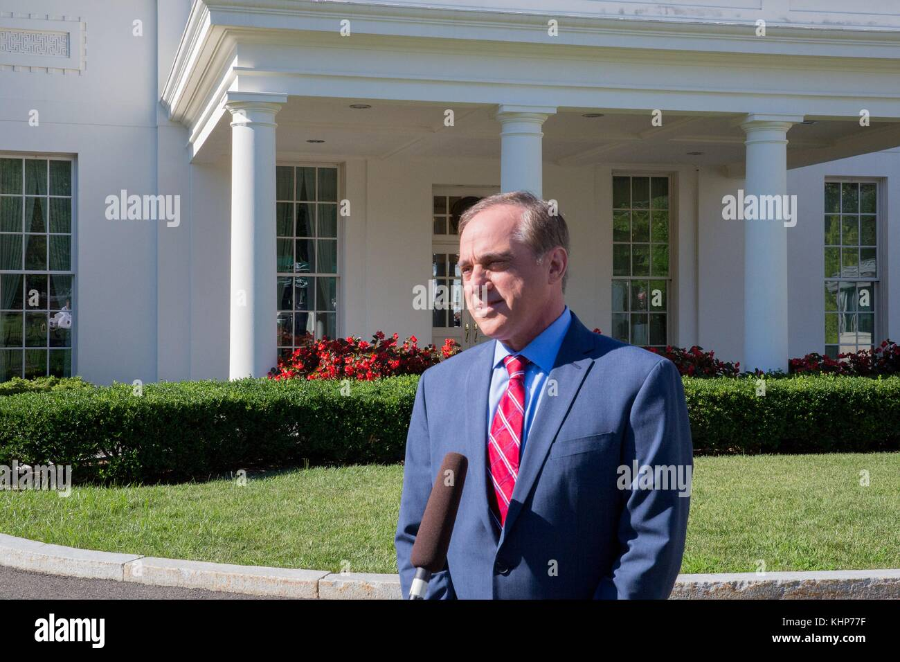 U.S. Secretary of Veterans Affairs David Shulkin speaks to the media outside the West Wing of the White House July - Stock Image