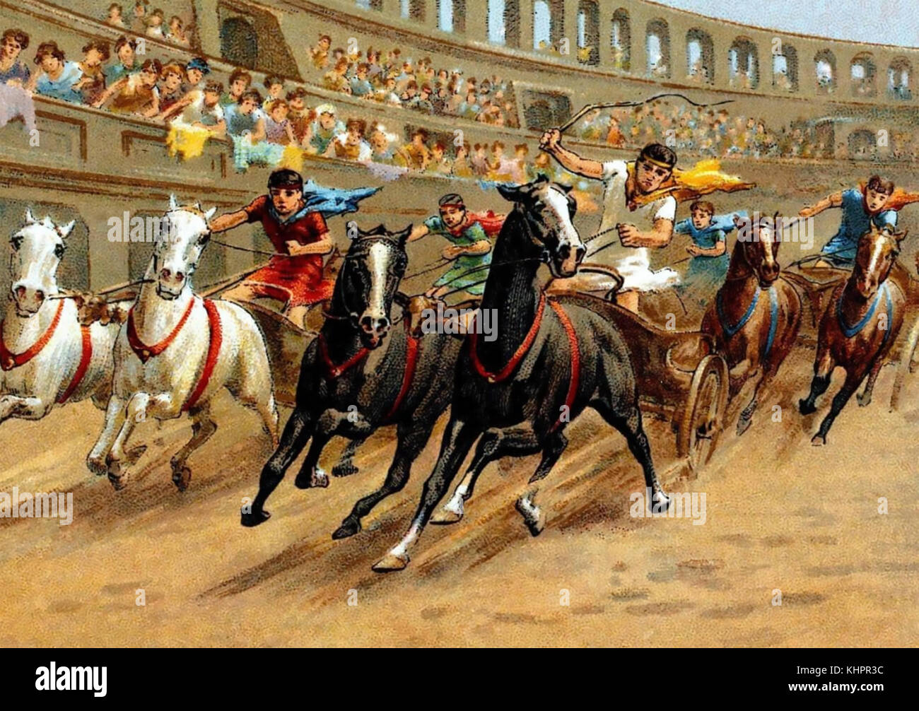 CHARIOT RACING in ancient Rome on a cigarette  card about 1910 - Stock Image