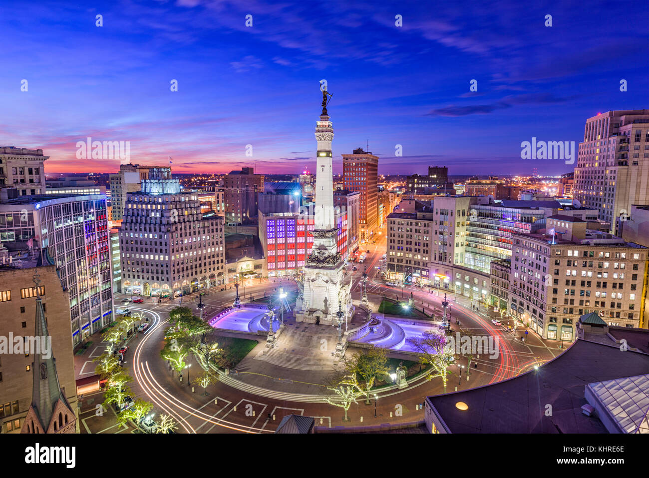 Indianapolis, Indiana, USA skyline over Monument Circle. - Stock Image