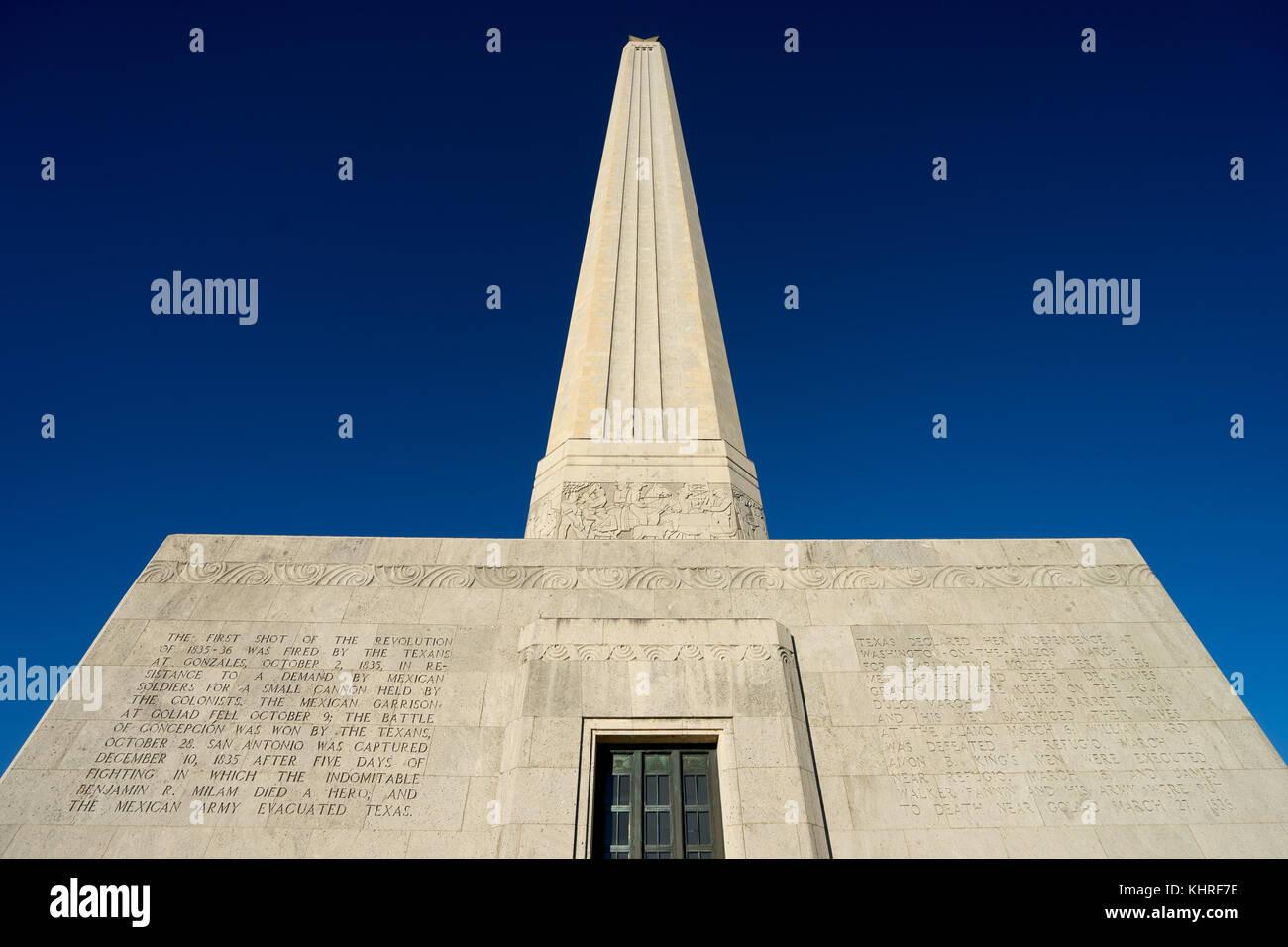 San Jacinto battleground monument Houston Texas - Stock Image