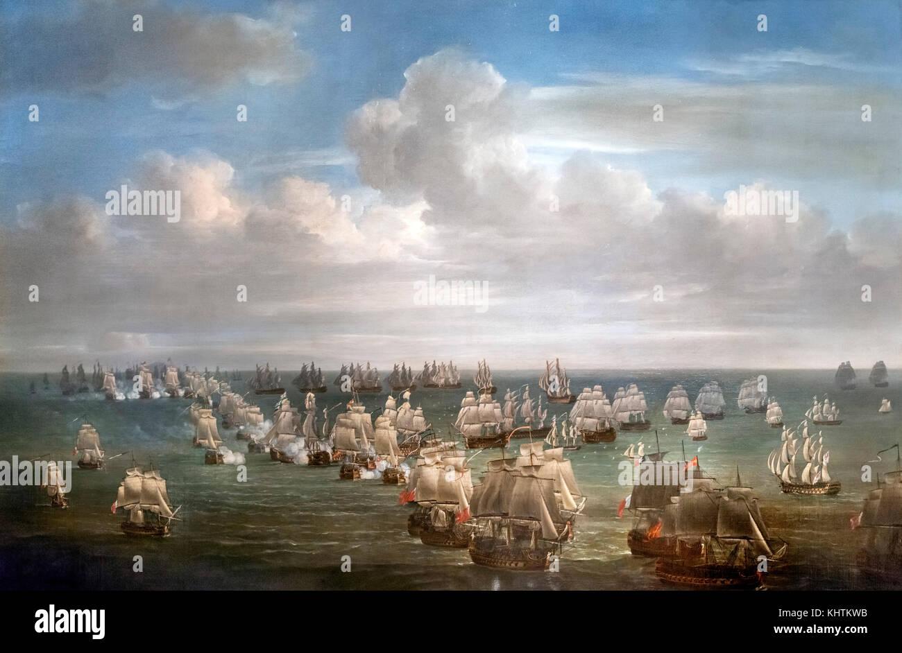 'The Battle of Trafalgar' by Nicholas Pocock - Stock Image