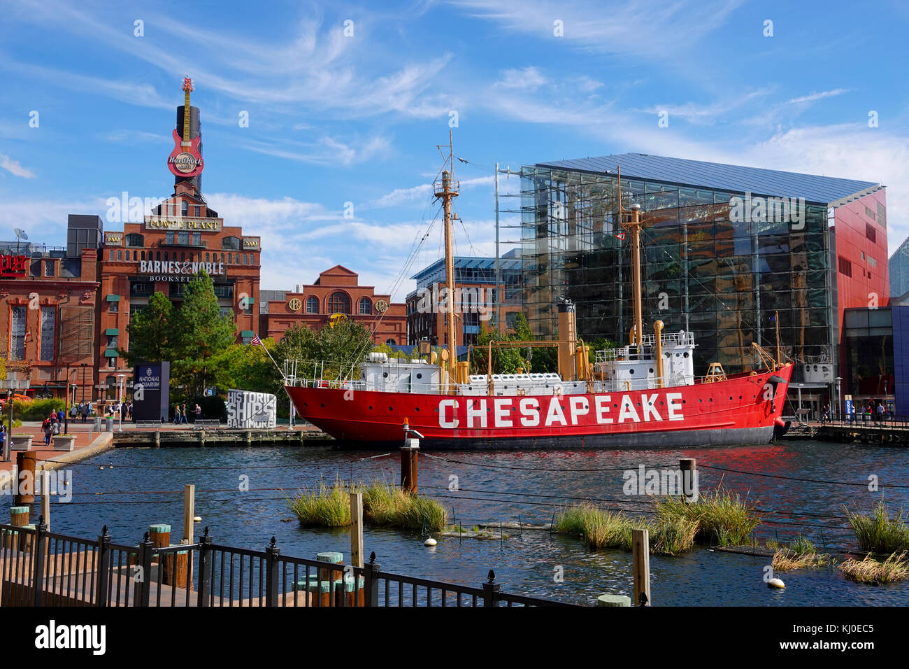 USA Baltimore Maryland MD Inner Harbor city waterfront day summer Chesapeake Lightship aquarium Stock Photo