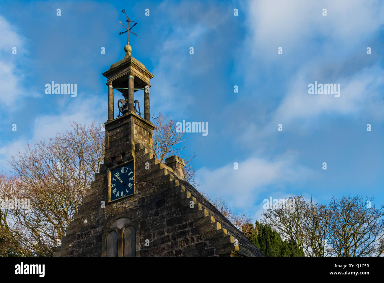 Lochwinnoch,Scotland,UK-November 18,2017: The early 18th-century St John's Church and its Weather vane with - Stock Image