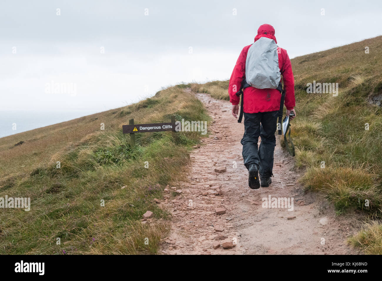 man walking on Old Man of Hoy footpath in wind and rain passing dangerous cliffs sign, Hoy, Orkney, Scotland, UK - Stock Image