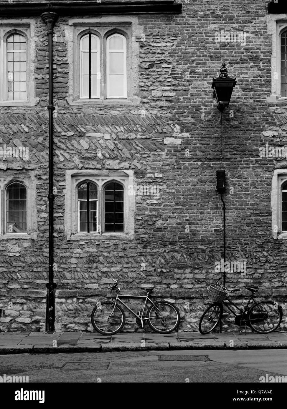Bicycles agains the sidewall of Trinity College Cambridge - Stock Image