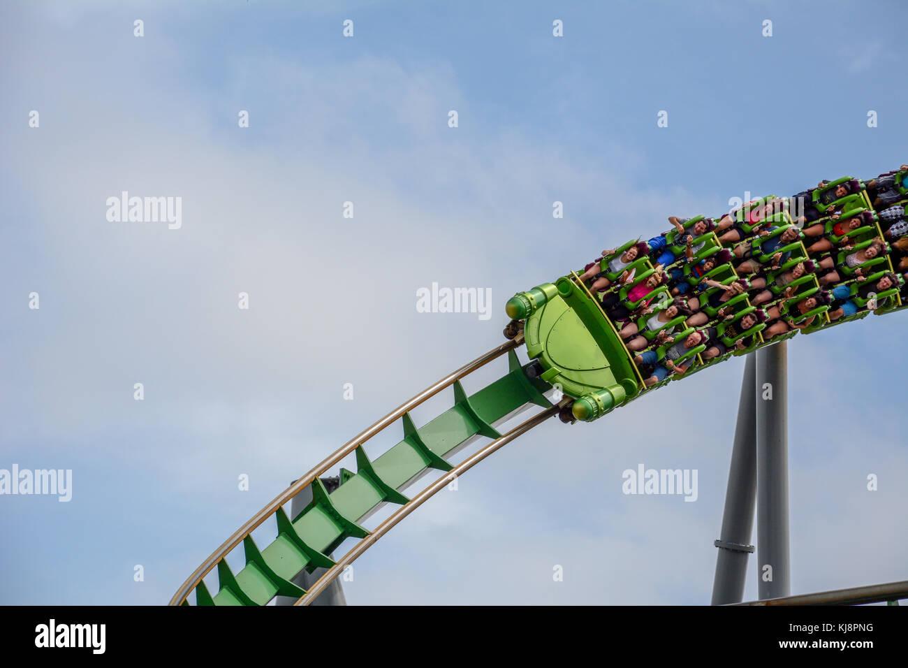 Riding a Roller Coaster - Stock Image