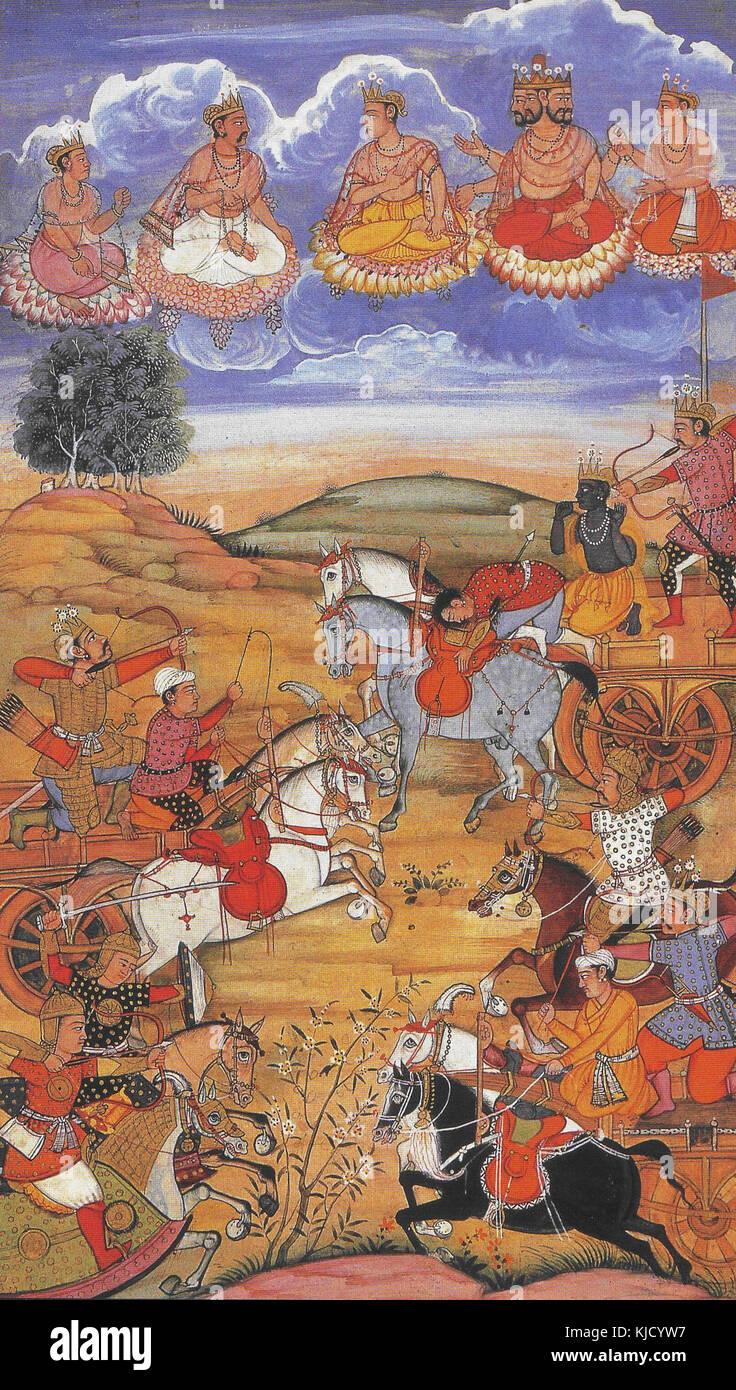 Arjuna BattlesWith the Kauravas At Kuruksheta Bhagavad Gita - Stock Image