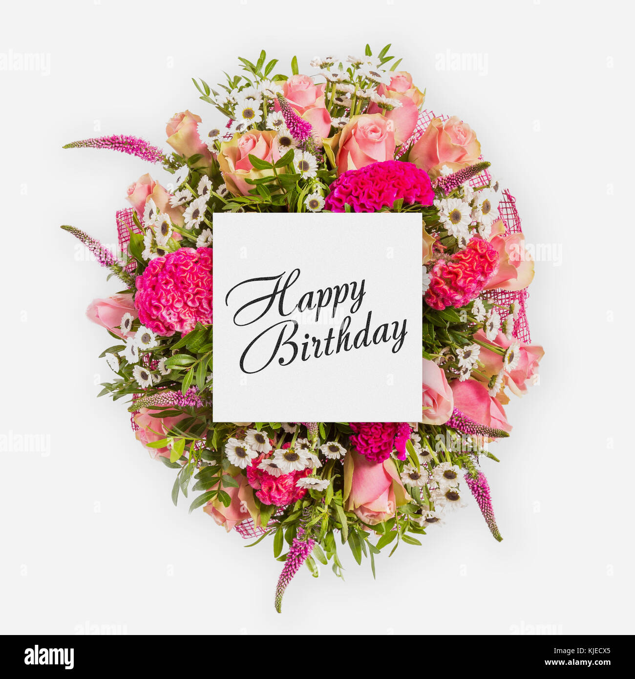 Happy birthday card with flowers flat lay stock photo 166274589 alamy happy birthday card with flowers flat lay izmirmasajfo Image collections