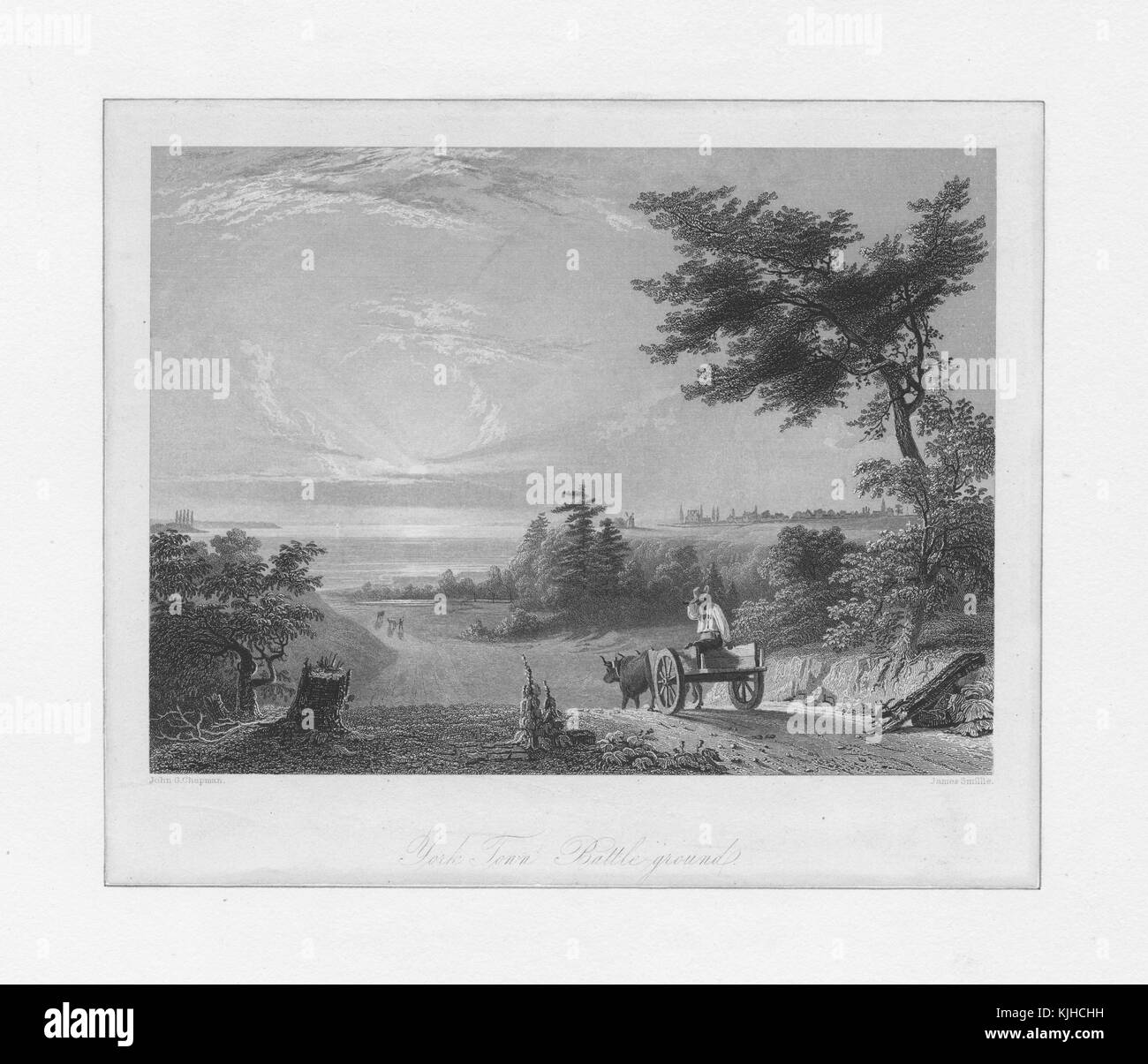 An engraving that depicts the battleground at Yorktown, a farmer in the foreground sits on a cart that is being - Stock Image