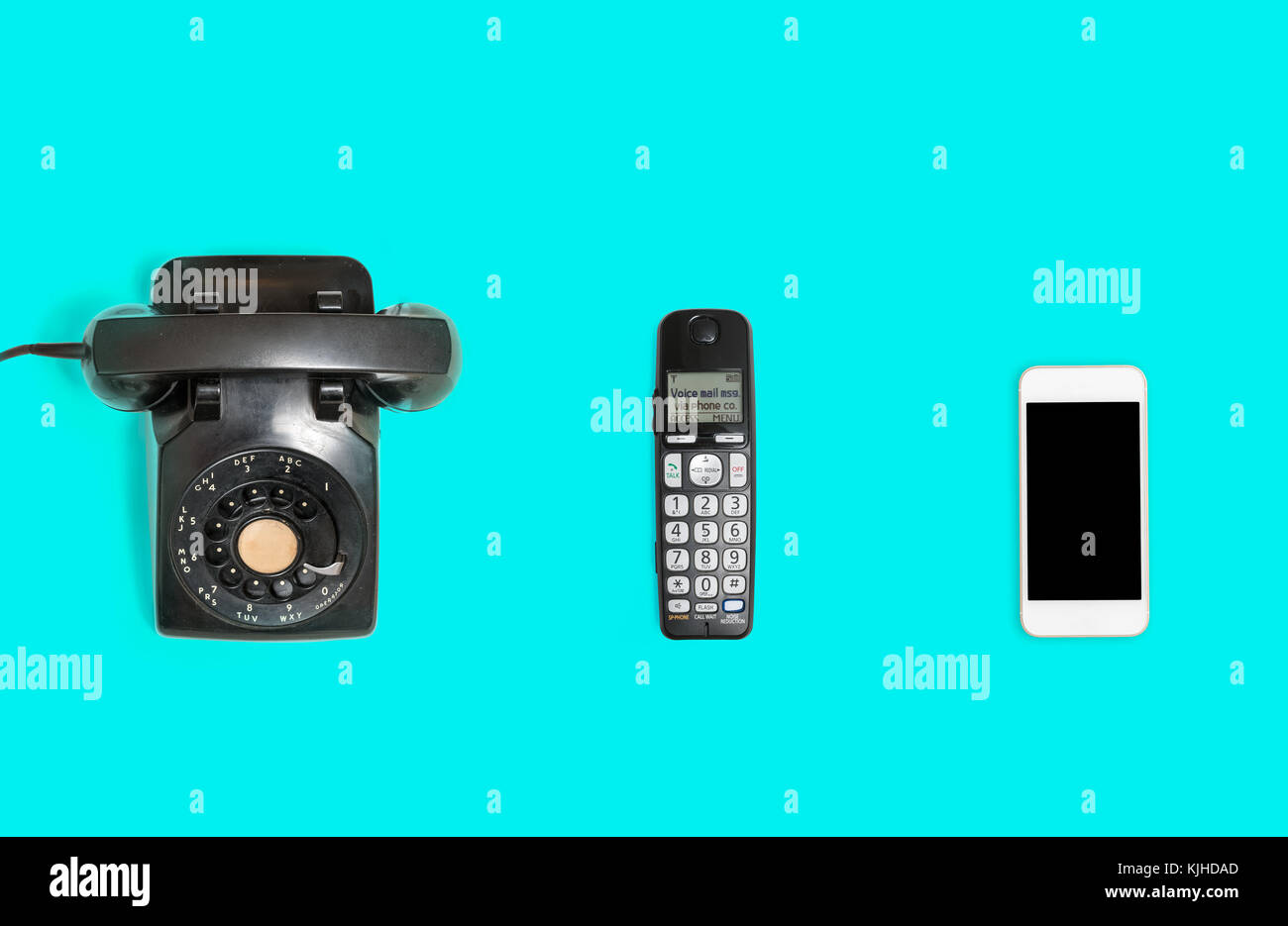 History of telephones from rotary to smartphone - Stock Image