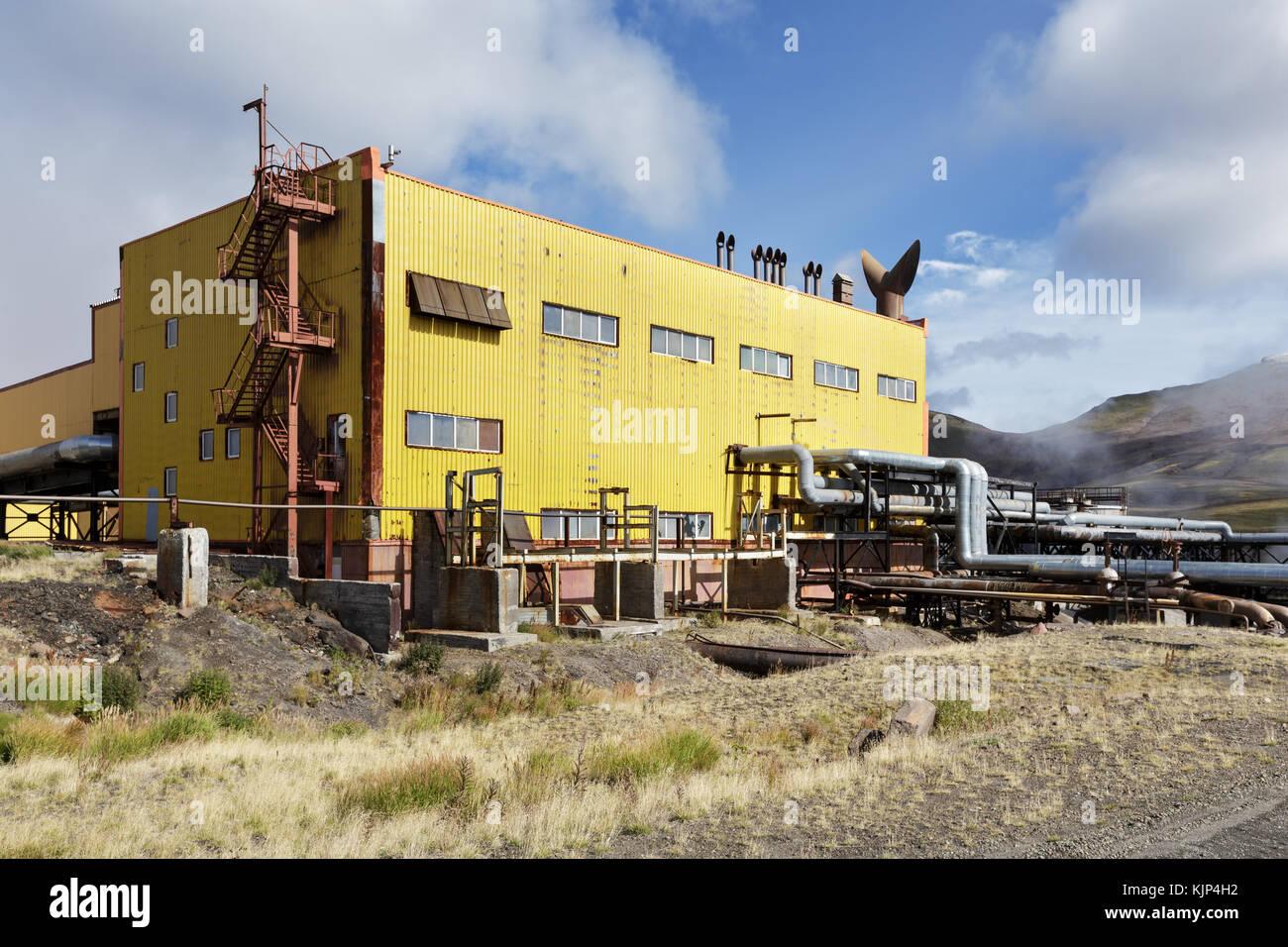 Separator and pumping station of Mutnovskaya Geothermal Power Station (Mutnovskaya GeoPP-1) using geothermal energy - Stock Image