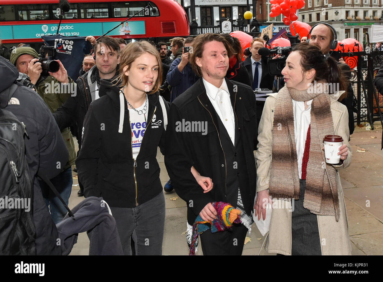London, United Kingdom. 29 November 2017. Lauri Love and partner Sylvia Mann arrive at the Royal Courts of Justice Stock Photo
