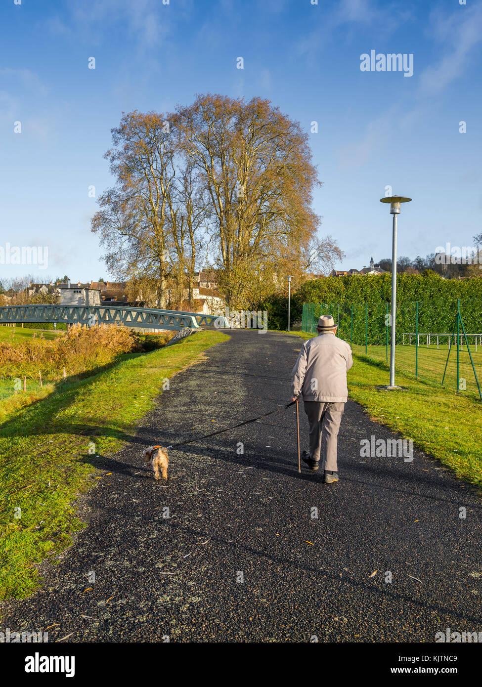 Old man walking dog on leash - France. - Stock Image