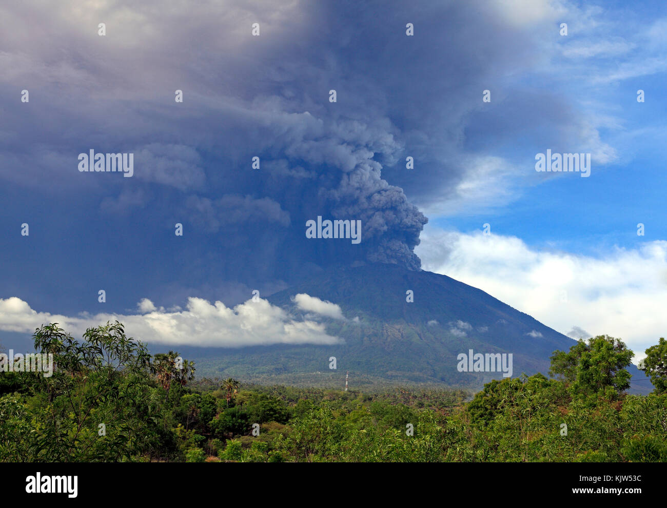 Mt Agung Volcano Eruption morning of 26 November 2017. Taken from Tulamben village, north east Bali, Indonesia Stock Photo