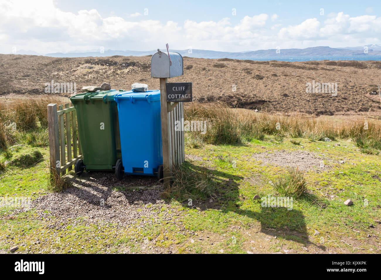 wheelie bins in a remote Scottish location - Stock Image