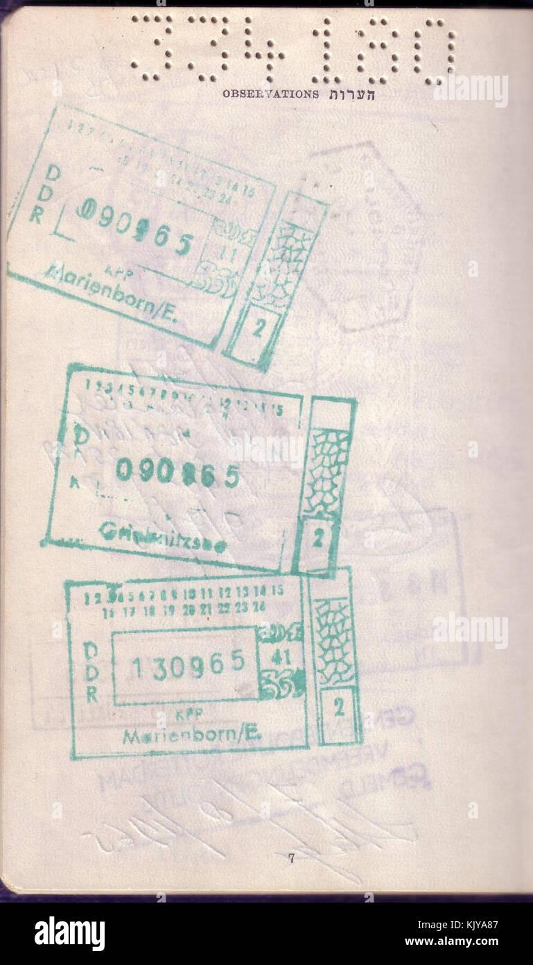 East West Berlin Border Crossing Stamps In An Israeli Passport