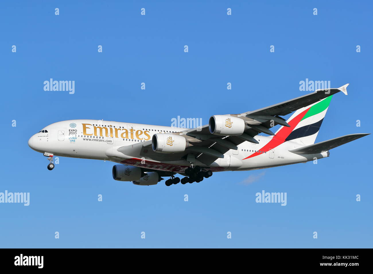 United Emirates Airbus A380 A6-EEC landing at London Heathrow Airport, UK - Stock Image